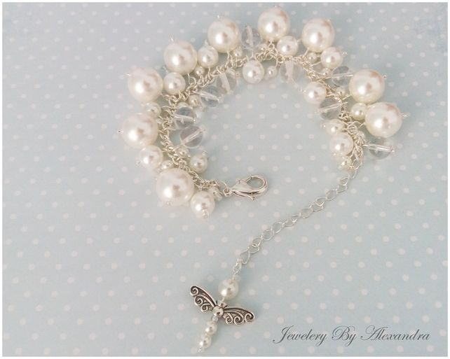 Cluster Bracelet-White and Clear with Dragonfly Charm £10.00