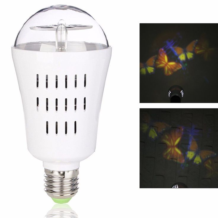 Jeteven LED Projector Light Bulb, Auto Rotating Projection Night Lamp 4W 4 LEDs E27 Base for Christmas Holiday Party DJ Disco Stage Show Home Decoration Colorful Butterfly A