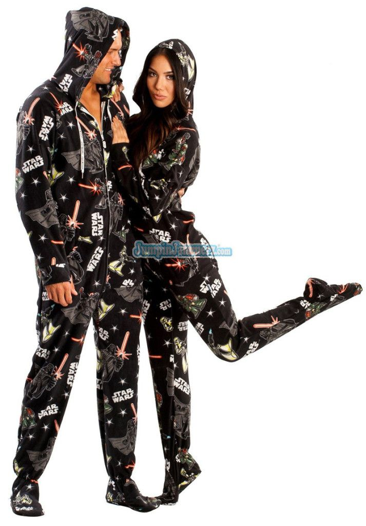 Star Wars Adult Mens Womens Footed Pajamas Pjs With Hoods
