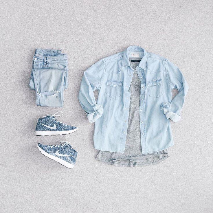 Blue Mens Fashion Grid Photo