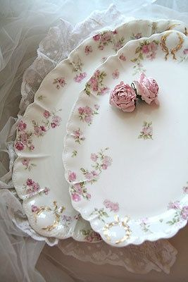 white platters with pink flowers