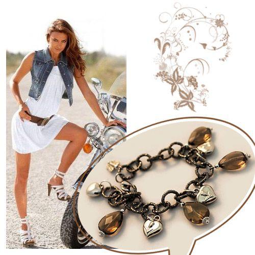 #Bracciale Catena Alluminio Bronzo #Quarzo-Fume' e #Cuori Argento
