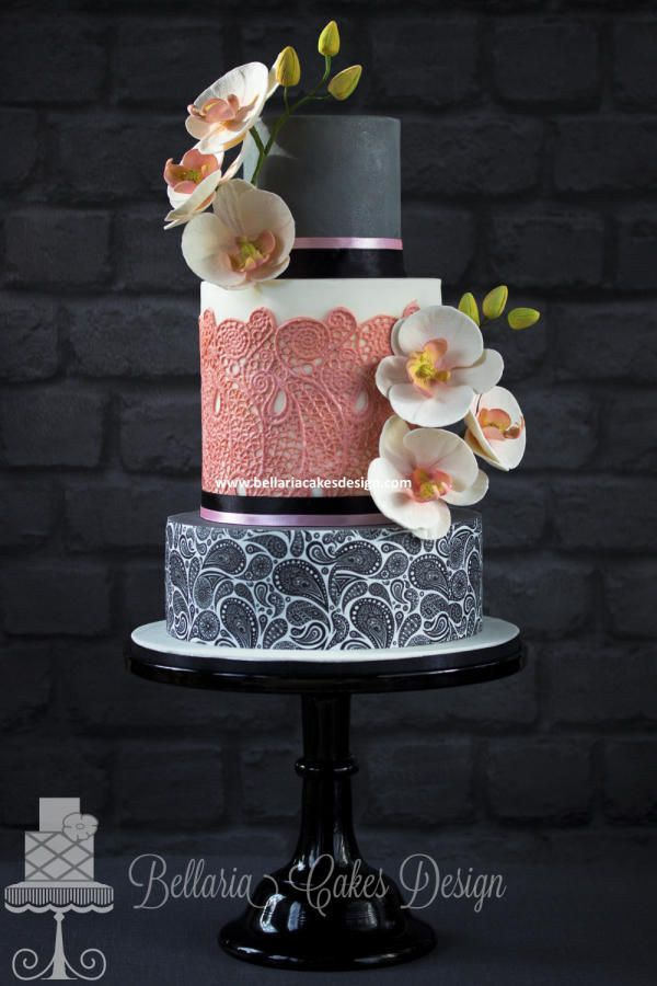 Paisley and orchid wedding cake - Cake by Bellaria Cakes Design (Riany Clement)