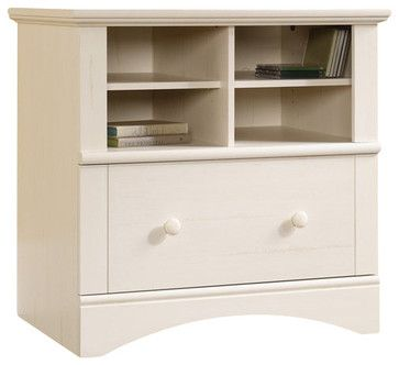 Sauder Harbor View 1-Drawer Lateral Wood File Cabinet in Antique White transitional-filing-cabinets