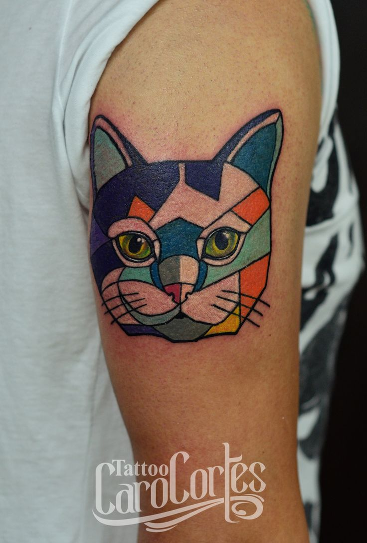 CAT & CUBISM - GATO Y CUBISMO Caro cortes Colombian tattoo ...