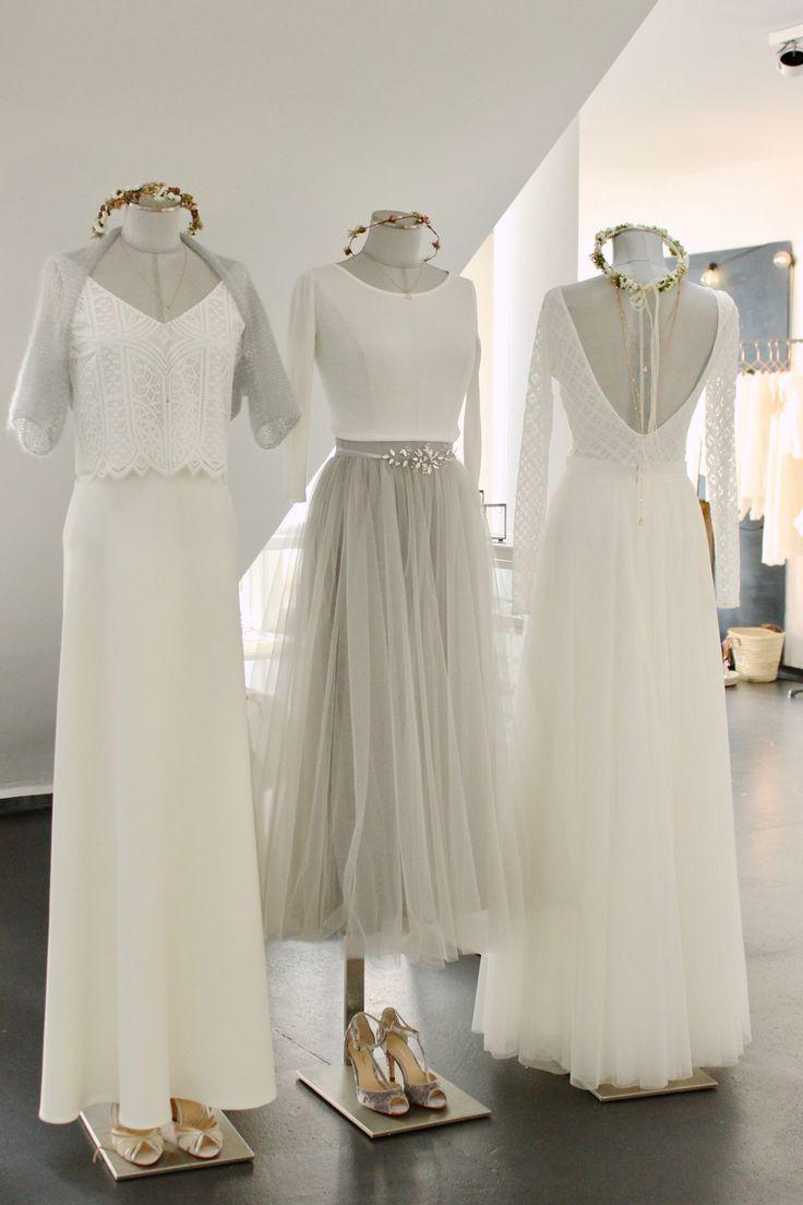 Schlichte, moderne Brautkleider und zweiteilige Hochzeitskleider im Boho Stil