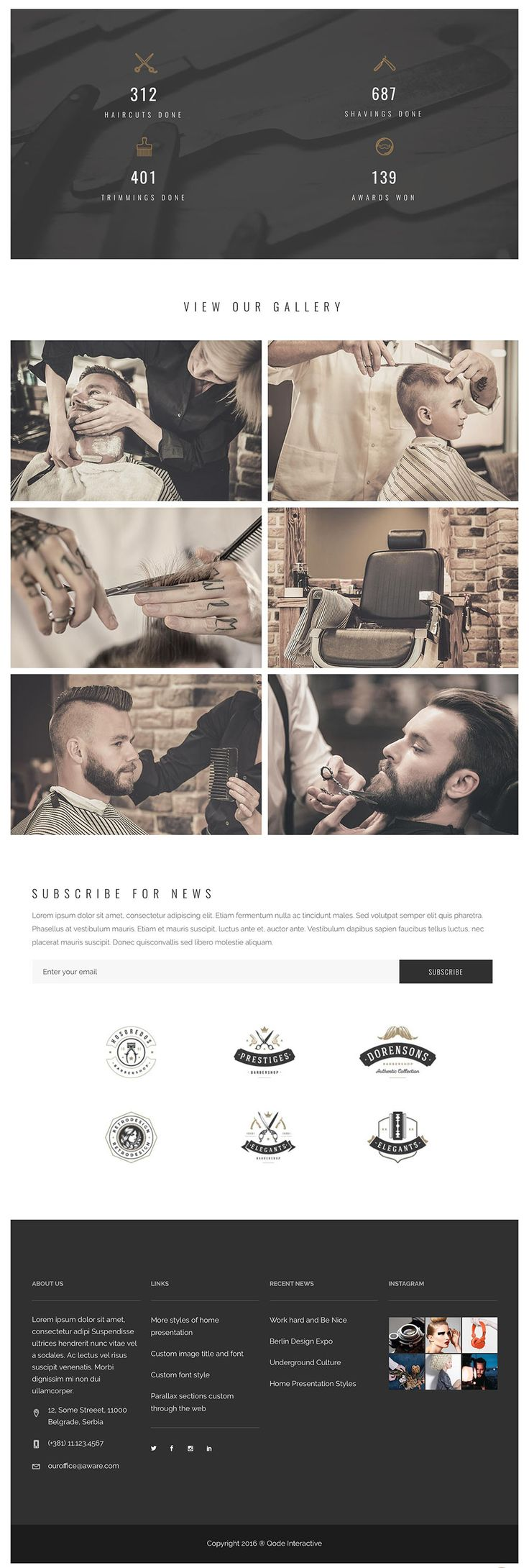 Bridge. Barber layout. One page site, part 2.