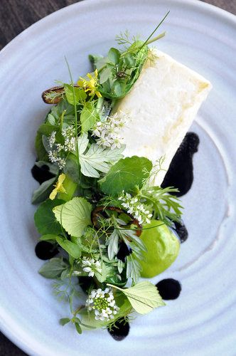 Jordan Kahn's Alaskan halibut with celtuce, kaffir lime, lettuce butter and vegetable stems. Photographed by Axel Koester
