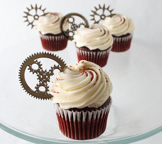 12 Steampunk Gear Cupcake Toppers Acrylic by ThroughThickandThin, $15.00