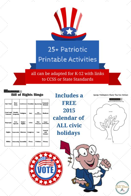 25+ free printable activities for all patriotic and civic holidays, including a free 2015 civic holiday calendar. All are for K-12 with CCSS standards attached.