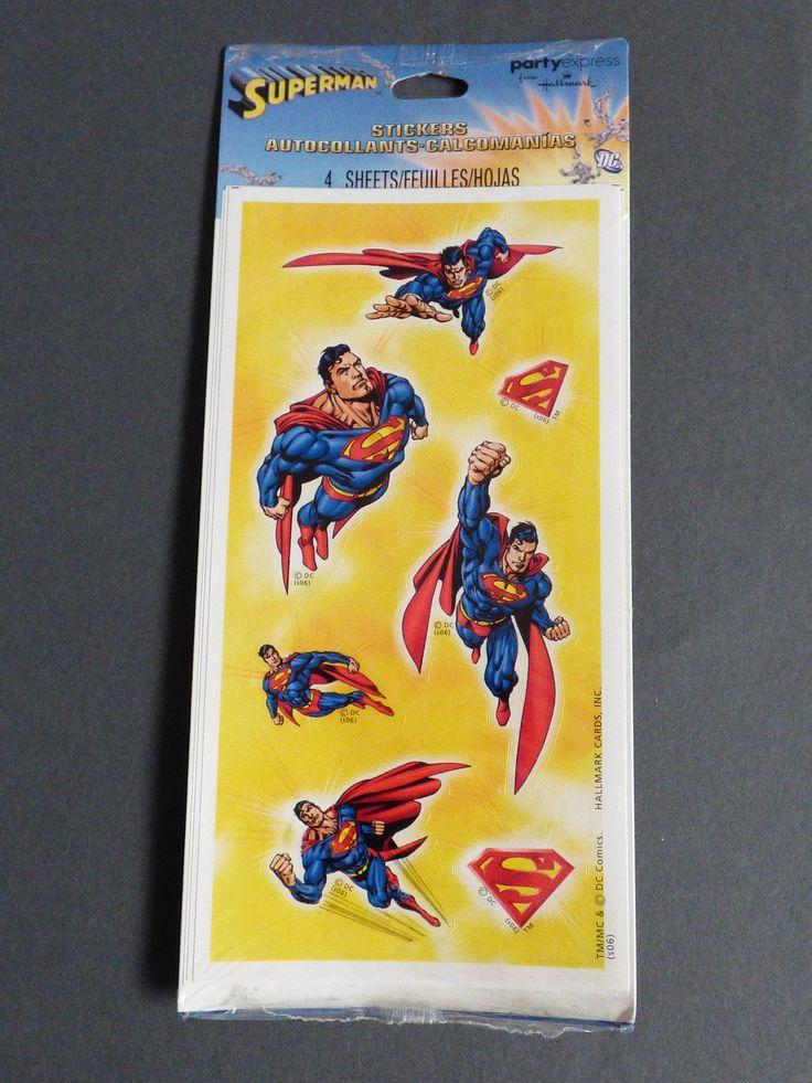 new 4 sheets Superman Stickers DC Comics Hallmark Party Express Super Man Hero | eBay