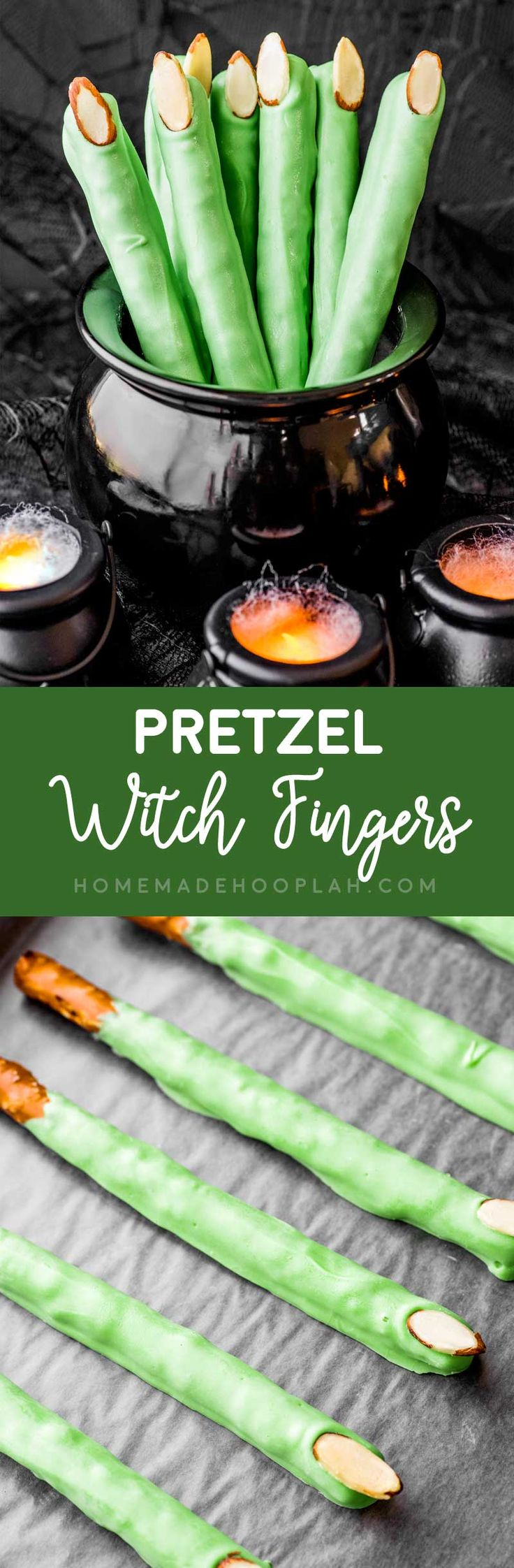 Pretzel Witch Fingers! Large pretzels covered in white candy coating that just happen to look like witch fingers. They're very easy to make and perfect for any witchy party! | HomemadeHooplah.com