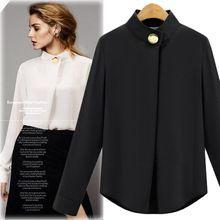 Bayanlar Artı Boyutu kadın Düğme Ofis OL Iş Elbisesi Gömlek 2016 Kadın Bluz blusa feminina Tops Beyaz Siyah Gri Uzun Kollu(China (Mainland))