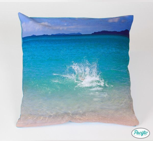 This cushion features a splash at Airlie Beach. Who made it? Printed on high quality non fade material.