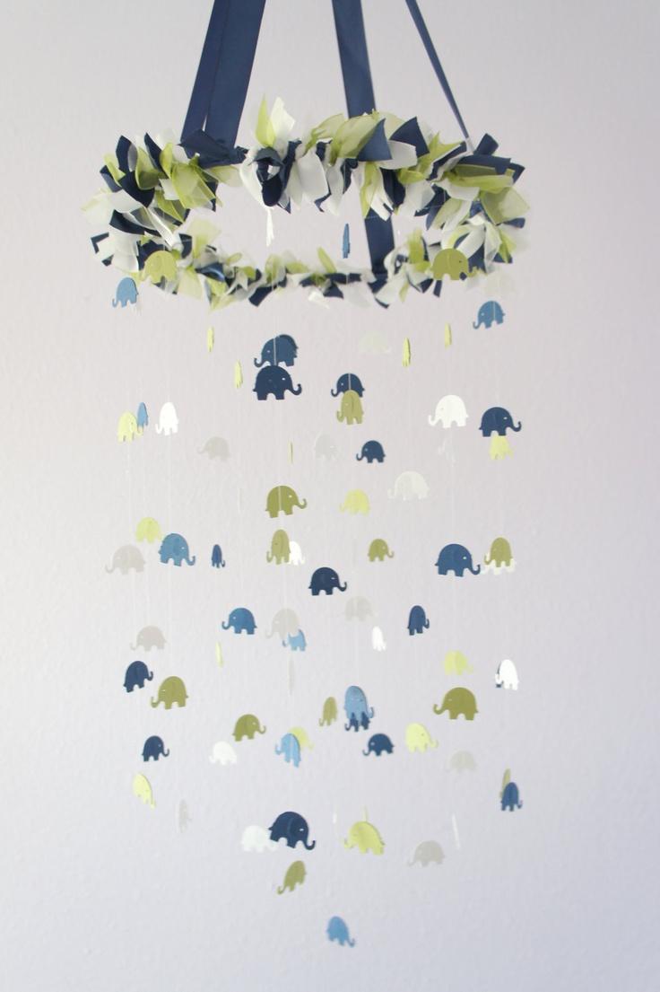 Navy & Green Elephant Nursery Mobile, Baby Shower Gift, Photographer Prop. $63.00, via Etsy.