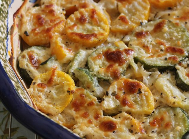 Zucchini & Yellow Squash Au Gratin - added a couple chopped up chicken ...