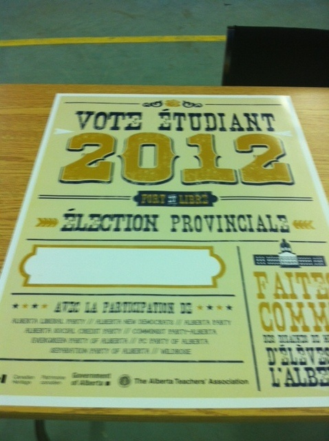 The Student Vote Alberta 2012 poster.