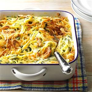 Monterey Spaghetti Recipe -I'm a working mother with two young boys. Our family leads a very active life, so I make a lot of casseroles. It's so nice to have a hearty, nutritious side dish the kids will eat. Topped with cheese and french-fried onions, this tasty casserole is a hit at our house. -Janet Hibler, Cameron, Missouri