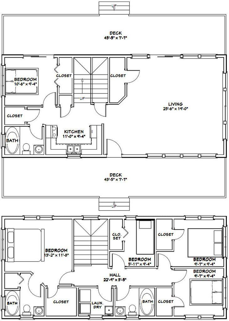 44x20 House -- #44X20H1E -- 1,657 sq ft - Excellent Floor Plans