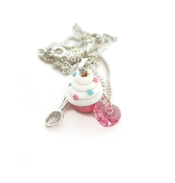 White Cupcake Charm Necklace for women, handmade polymer clay jewellery gifts by Lottieoflondon