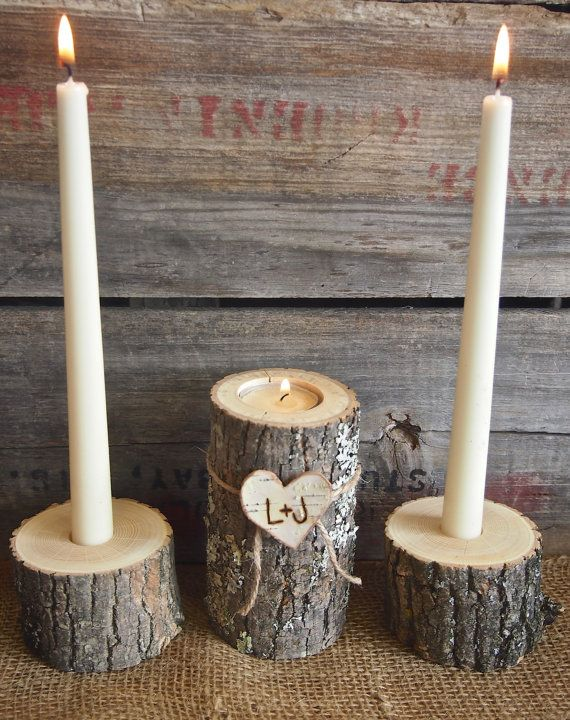 Country BROWN WOODEN Unity Candle Holder Set Tea by theflowerpatch