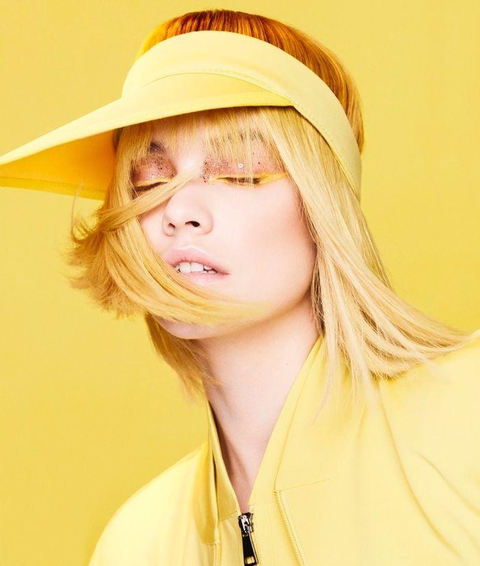 Looking mellow yellow, Barbara Palvin models Max Mara hat, jacket and jumpsuit