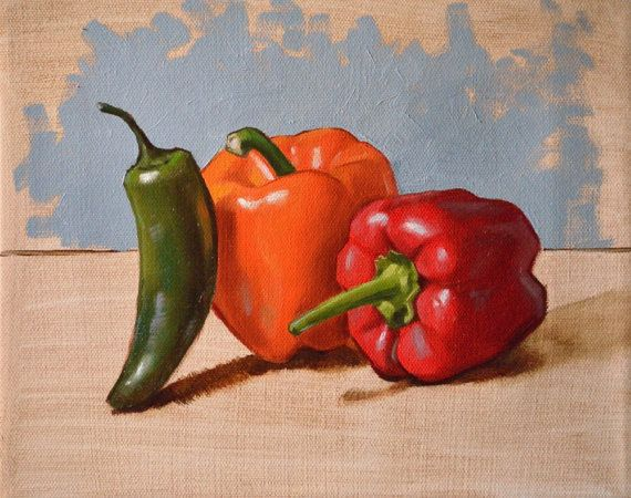 Peppers still life 8x10 original canvas oil painting red green orange vegetables kitchen art