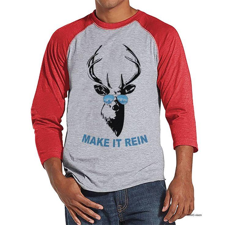 Funny Men's Christmas Shirt - Make It Rein Reindeer Shirt - Gift for Him - Family Christmas Pajamas - Red Raglan Tee - Christmas Gift Idea