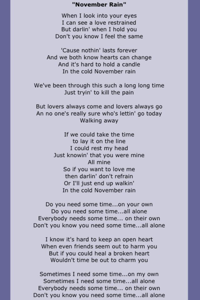 Lyric rain song lyrics : Best 25+ November rain lyrics ideas on Pinterest | Gnr songs ...