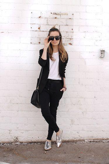 Isabel Marant White Tank, Uniqlo Cotton Blazer, Zara Moto Style Sweatpants, Forever 21 Silver Point Oxfords, Zara Over The Shoulder Bag, Polette Giveaway Sunnies