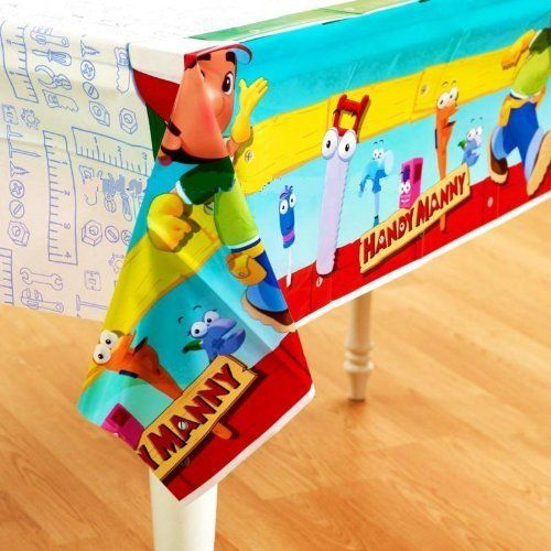Handy Manny Plastic Tablecover by LGP. $6.99. One 54 in. x 102 in. Handy Manny and all his handy tools! Come along and join their birthday fun adventure. This Handy Manny Table Cover is a perfect match to the other Handy Manny party supplies. This handy plastic table cover keeps your party festive while protecting your table. Kids can't resist party fun with this colorful plastic table cover featuring Handy Manny and his handy tool friends. Since spills wipe up easi...