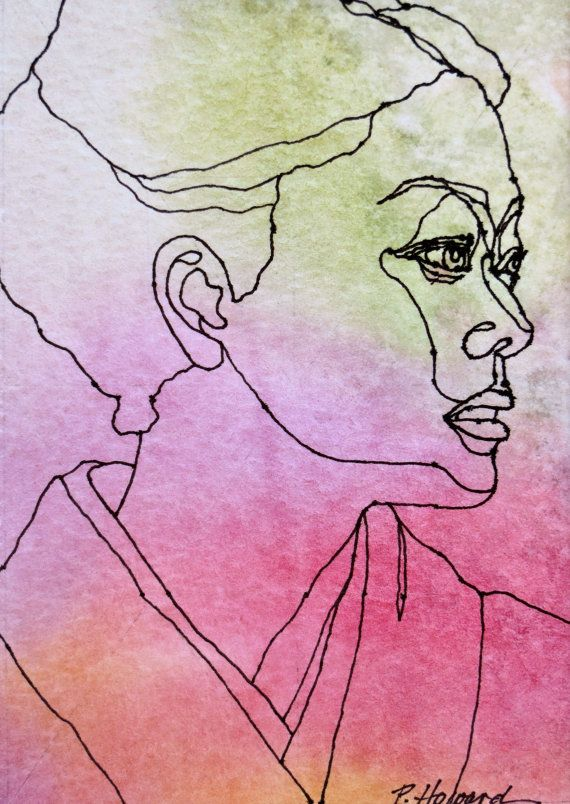 Contour Line Drawing Ink : Best images about faces pen ink on pinterest