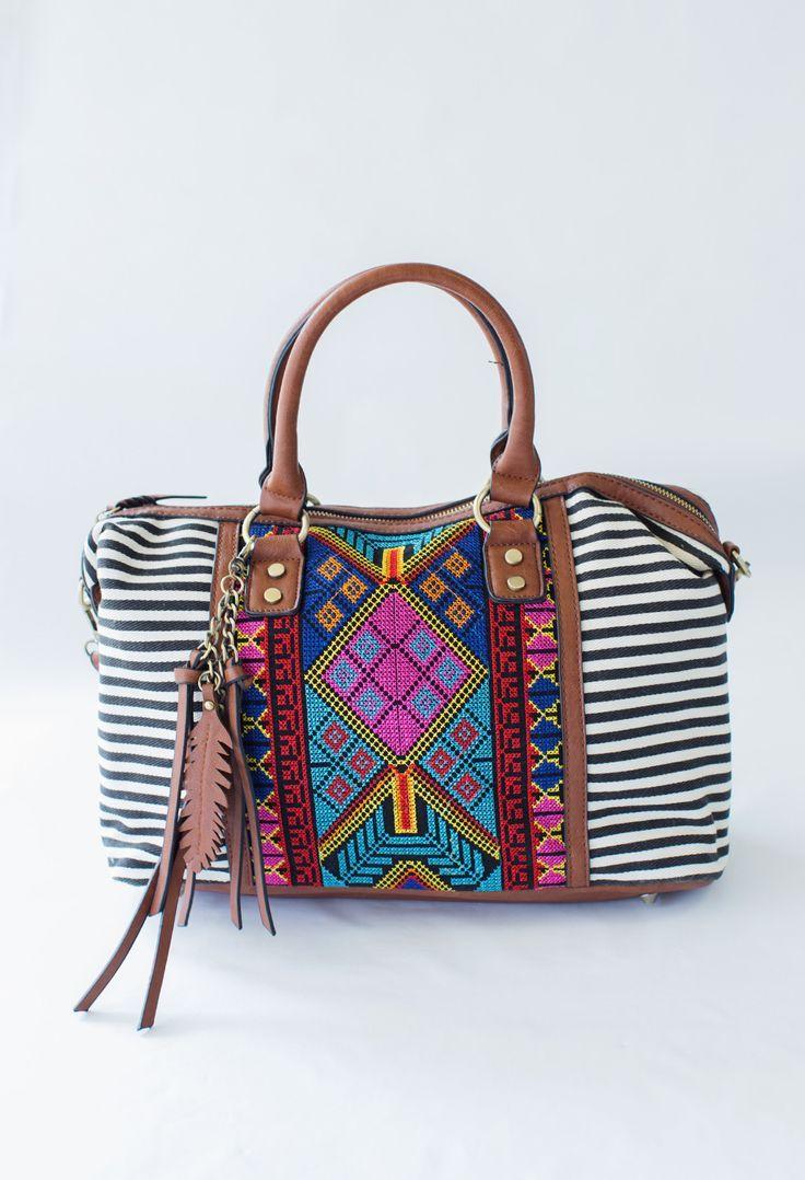Phoenix Nights Purse - Embroidered Handbag with Striped Pattern