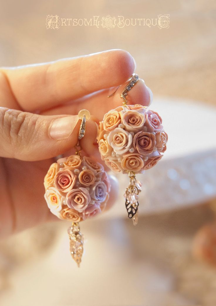 Pomander Kissing Ball Earrings, Handmade Bridesmaid Pomander Earrings, Rose Ball, Polymer Clay Earrings, Bridesmaid Gift, Mother's Day Gift by ArtsomeBoutique on Etsy