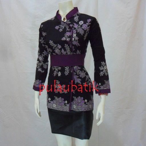 Baju batik seragam kantor terbaru untuk wanita model blus lengan panjang keren dan cantik http://pulaubatik.com
