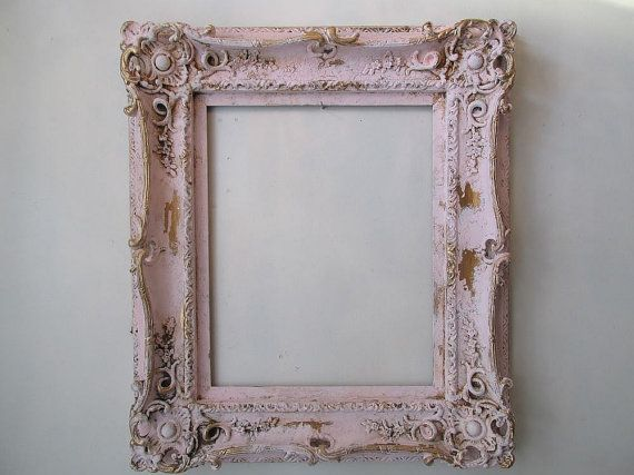 Ornate Picture Frame Wall Hanging Painted Pink Distressed