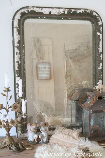 French mirror . . . / TG: I can see making this out of an old baking sheet or broiler pan and adding an aged mirror to it!