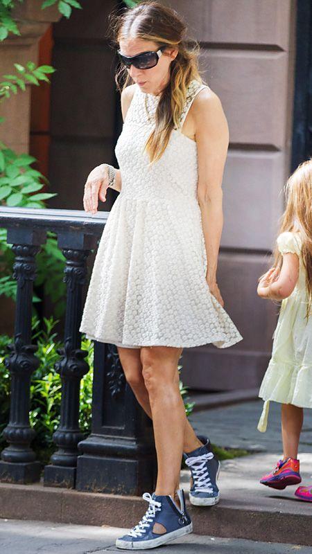 Sarah Jessica Parker stepped up her style game by offsetting her summery LWD with grungy-cool high-tops.