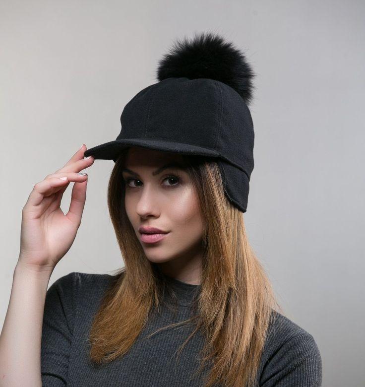 Fur Pompom Cap     #black #hat #real #pompom #fur winter #hat #haute #style #fashion