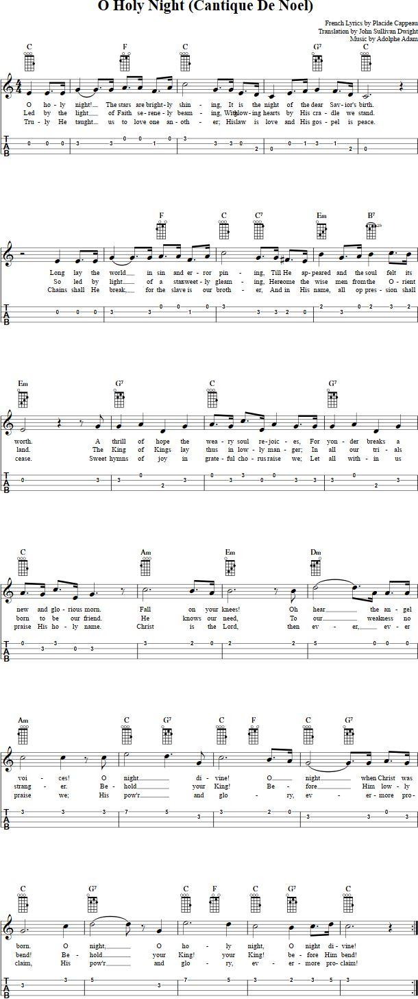 O Holy Night Ukulele Sheet Music