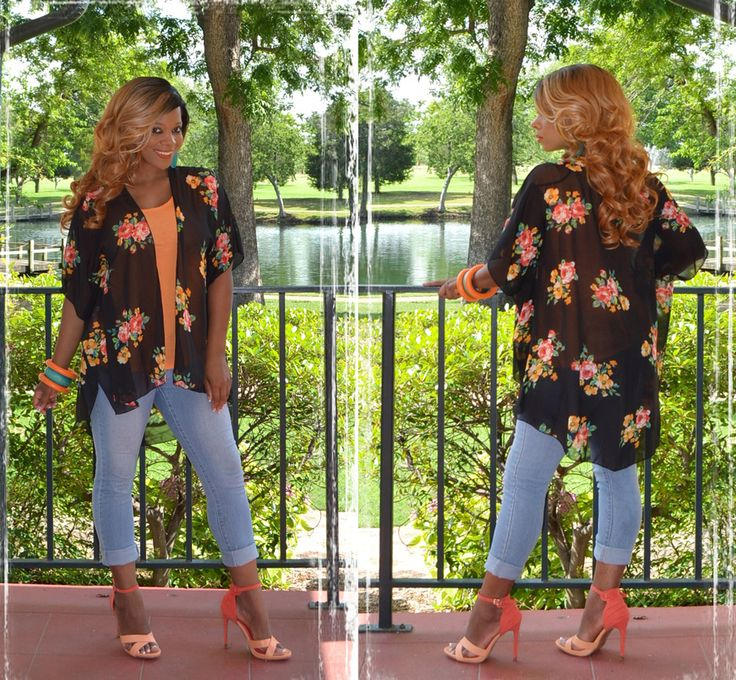 Floral Of Style Kimono-Black- Cute spring and summer outfit with the floral kimono, denim wash skinny jeans. All U.S. orders ship fast and free. #cuteoutfits