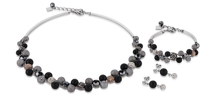 Swarovski Onyx Agate black Set-4845_1523 – Necklace, Bracelet and Earrings by Coeur de Lion jewellery