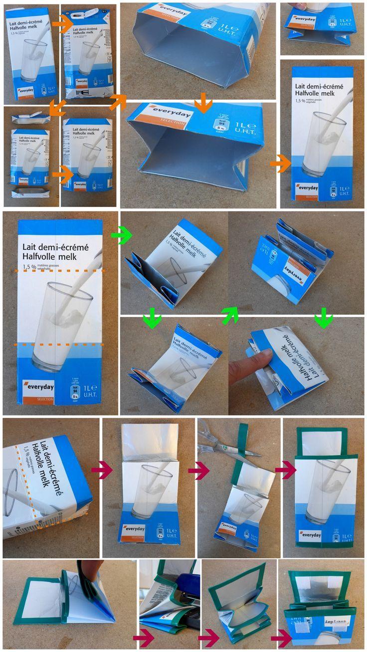 Hoe je van een leeg brik een portemonneetje maakt... Als het af is kan je het verder bekleden met stof of papier en de randen met washi tape. Veel plezier!: