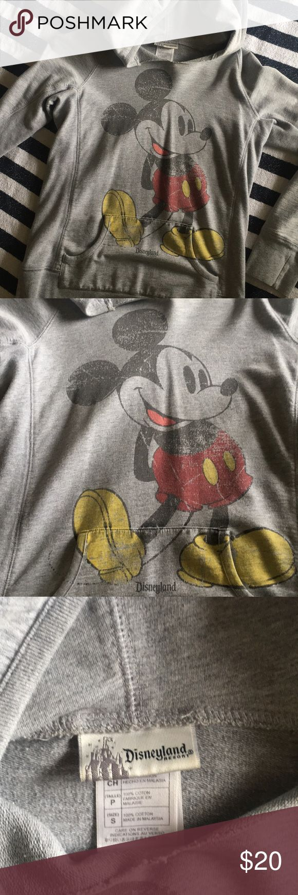 Pullover Mickey Mouse hoodie Small Mickey Mouse pullover - from Disneyland 100% cotton  Fits true to size Great condition Disney Tops Sweatshirts & Hoodies