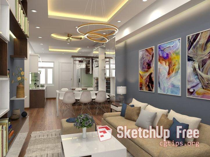 986 Interior Apartment 2 Scene Sketchup Model Free Download
