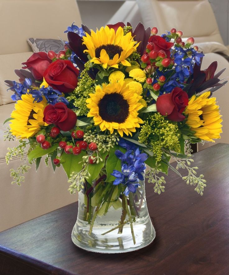 Sunflower Floral Arrangements | Sunflowers, Delphinium, Roses, Custom Flower Arrangements, Carithers ...