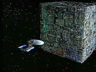 Borg cube- originally from the Delta Quadrant, the Borg were introduced into the Alpha Quadrant by the mischievous entity Q.