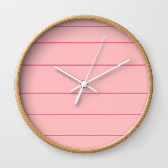 Sweet Pink Stripes Wall Clock by Bravely Optimistic | Society6