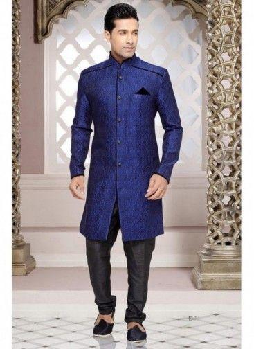 Sherwani Couleur Bleu Tenue de Concepteur Moderne Jacquard Pour le Marié