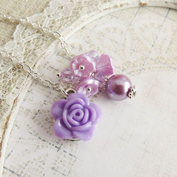 Purple rose necklace, flower girl necklaces, little girl jewelry, toddler flower necklaces, childrens wedding jewelry, country wedding
